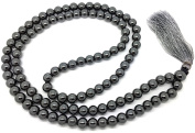 Hematite Japa Mala 108 beads each 8 mm wide, sitting back to back, plus 1 larger guru bead, 32 inches in length, with real gemstones, for use in Meditation or as a Necklace