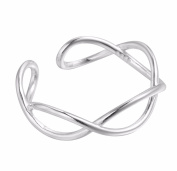 iszie jewellery sterling silver small toe ring adjustable infinity open twist hollow cross design ladies fashion toe ring