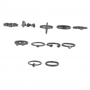 Lux Accessories Hematite Love Bow Heart Star Novelty Ring Multi Pack Set 11Pcs