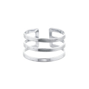Lux Accessories Silver Tone Geo Cut Out Triple Bar Ring