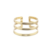 Lux Accessories Gold Tone Geo Cut Out Triple Bar Ring