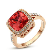 Yoursfs 18ct Rose Gold Plated Statement Halo Rings Coral Red Austrian Crystal Ring for Women Fashion Cocktail Jewellery Gift