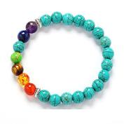 Chakra Bracelet Healing Balance Meditation Calming Yoga Prayer Beads Reiki Stones Om Budhha Hamsa with Real Lava Stones Jewellery for Unisex Men Women Girls by BellaMira