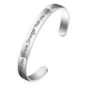 BESPMOSP You Are Braver Stronger Smarter Than You Think Cuff Bangle Bracelet Inspirational Cuff Band