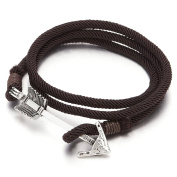Mens Women Multi-strand Brown Cotton Rope Wrap Bracelet Wristband with Arrow Hook Closure