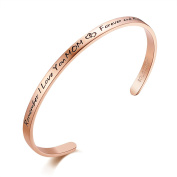 """SOLOCUTE Cuff Bangle Bracelet Engraved """"Remember I Love You MOM , Forever And Always"""" Inspirational Jewellery, Perfect Gift for Christmas Day, Thanksgiving Day and Birthday"""