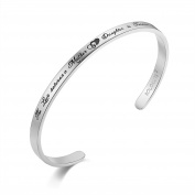 """SOLOCUTE Cuff Bangle Bracelet Engraved """"The Love Between Mother & Daughter Is Forever"""" Inspirational Jewellery, Perfect Gift for Christmas Day, Thanksgiving Day and Birthday"""