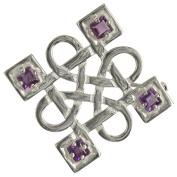 HSH052 Sterling Silver Celtic Brooch With 4 Facetted Amethysts B991