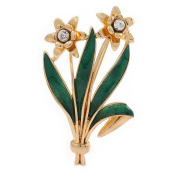 Crystal Daffodil With Green Enamel Leaves Floral Brooch In Gold Plating - 60mm L