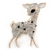 Gold Plated Clear/ Black Crystal Fawn Reindeer Brooch - 45mm