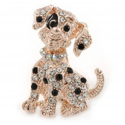 Black/ Clear Crystal Dog Brooch In Gold Tone - 35mm