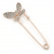 Clear Crystal Assymetrical Butterfly Safety Pin In Gold Tone - 70mm L