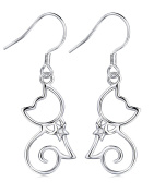Sterling Silver Classically Elegant Kitty Cat With Star Collar Dangle Drop Earrings