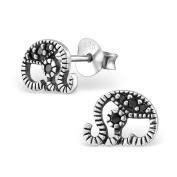 Laimons Ladies' Earrings Ladies' Jewellery elephant oxidised zirconia 925 Sterling silver