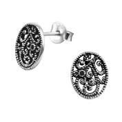 Laimons Ladies' Earrings Ladies' Jewellery filigree oval design black zirconia 925 Sterling silver