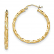 14 Carat 585 Yellow Gold Partly Frosted Twisted Hoop Earrings – PRI14 M