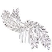 Clearine Women's Bohemian Boho Wedding Bride Marquise Shape Leaves Crystal Hair Comb Headpiece Clear Silver-Tone
