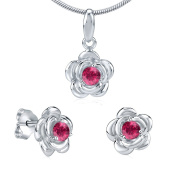 Flower with Synthetic Ruby Earrings & Pendant Jewellery Set 925 Sterling Silver