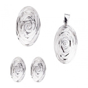 Ass 925 silver Women's Pendant and Earrings Ring Jewellery Set