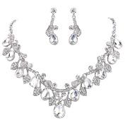 Clearine Women's Wedding Bridal Crystal Teardrop Cluster Leaf Vine Statement Necklace Dangle Earrings