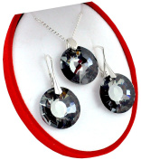Silver Night Crystals & Stones * Sun * Sun * * Jewellery Set Earrings and Necklace with Elements – Miraculous with Elegant Schmuscketui