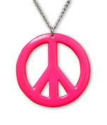 Hot Pink Peace Sign Enamel Finish On Pewter Hippie Pendant Necklace