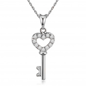 Lock Your Heart Key Pendant Necklace Women Girls 925 Sterilng Silver Necklaces Chain 46cm