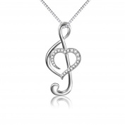 925 Sterling Silver Heart Musical Note Necklace Pendant, Box Chain 46cm