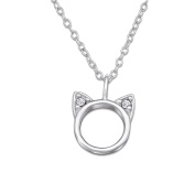 JewellerybyZ 925 Sterling Silver and Crystal Cat Necklace