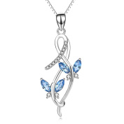 Sterling Silver Marquise CZ Butterfly Infinity Pendant Necklace With 46cm Chain