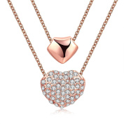 FJYOURIA Women's 18ct Rose Gold Double Heart Pendant Necklace with Crystals Decorated Perfect Gift