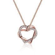 FJYOURIA Women's Twisted Love Double Heart Pendant with Cubic Zirconia White/Gold Plated Infinity Love Necklaces