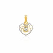 9ct 2 Colour Gold heart Pendant