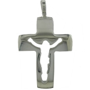 Sterling Silver Cross Pendant With Openwork of Christ Bright and Smooth. JOYERIA Sterling Silver 925.