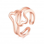 FJYOURIA Women's Open Double Heart Shape Thumb Ring High Polished Forever Women Band Ring Size 7