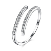FJYOURIA Women's 925 Sterling Silver Adjustable Brilliant Round Cut CZ Engagement Wedding Ring