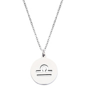 Zodiac Signs Cut Out Stainless Steel Disc Necklace