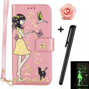 Huawei Honour 6X Leather Case,Huawei Honour 6X Wallet Case with [Luminous Elegant Girl Butterfly Flower] Pattern Design,TOYYM PU Leather Magnetic Closure Style Flip Wallet [with Card Slot and Strap] Protective Case Cover For Huawei Honour 6X-Rose Gold