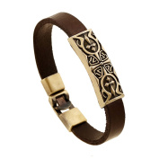 JSEA Brown Leather Charm Bracelet Bangle for Mens Retro Engraved Pattern Charms