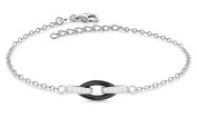 "Tuscany Silver Sterling Silver Rhodium Plated Oval Black Ceramic and Cubic Zirconia Link Adjustable Bracelet of 15.25cm/6""-18cm/7"""