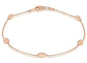 Tuscany Silver Sterling Silver Rose Gold Plated Diamond Cut Ball and Trace Chain Bracelet of 19cm/7.5""