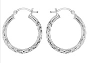 Tuscany Silver Sterling Silver 25mm Diamond Cut Creole Earrings