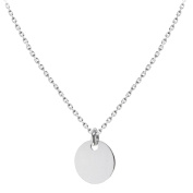 """Tuscany Silver Sterling Silver Plain Disc Pendant on Chain Necklace of 46cm/18"""""""