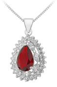 """Tuscany Silver Sterling Silver Red and White Cubic Zirconia Cluster Teardrop Pendant on Chain Necklace of 46cm/18"""""""