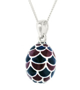 Tuscany Silver Sterling Silver Mauve and Teal Enamel Cone Pendant on Curb Chain of 46cm/18""