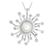 """Tuscany Silver Sterling Silver Women's Mother of Pearl Sun Pendant on Curb Chain Necklace of 46cm/18"""""""