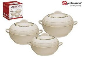 Sq Pro Ambiente Food Warmer Hot Pot Set Of Insulated Casseroles, 1.2, 1.6, And