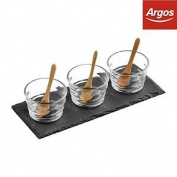 Premier Housewares Slate Tray Set, 3 Ribbed Glass Bowls:the Official Argos Store