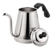 Meelio Coffee Pot,1 Litre Gooseneck Drip Cafe Kettle,18/8 Stainless Steel Stovetop Coffee Pot,Works on Regular and Induction Stoves with Easy Grip Handle and Gooseneck Spout