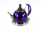 1 Litre Stainless Steel Teapot Tea Pot With Strainer Purple Violet